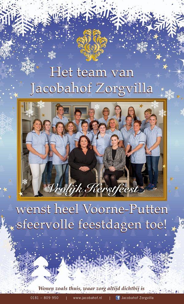 Kerstviering beste wensen namens Jacoba Zorgvilla kaart